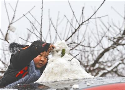 """成都城区下了一场""""头皮雪"""" 龙泉山上可堆雪人"""