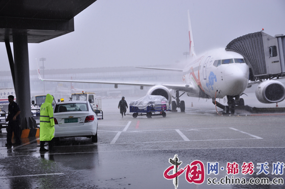 成都机场遭雷暴袭击 导致大面积航班延误