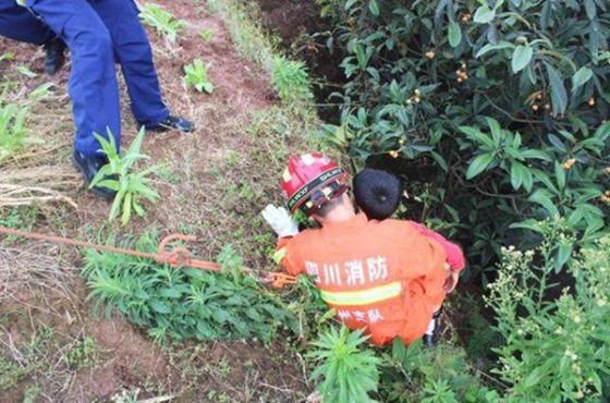 惊险!小孩贪玩不慎滑落陡坡泸州消防紧急救援
